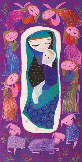 Vintage Mod 'Purple Madonna' painted by Mary Blair. Mary and Jesus surrounded by lambs and angels of shocking pink on purple background.