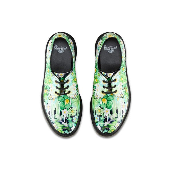 SLIME FLORAL 1461 ❤ liked on Polyvore featuring shoes, colorful shoes, multi color shoes, multi colored shoes, floral print shoes and multicolor shoes