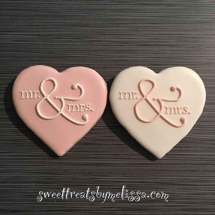 "35 Likes, 3 Comments - Melissa (@sweettreatsbymelissaco) on Instagram: ""Mr. & Mrs. heart shaped cookies for a bridal shower. Simple, but pretty  #bridalshower #wedding…"""