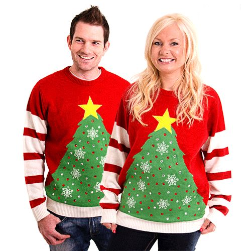 Unisex Red and White LED Light Up Christmas Tree Knitted Jumper From Cheesy Christmas Jumpers (maat: Small)