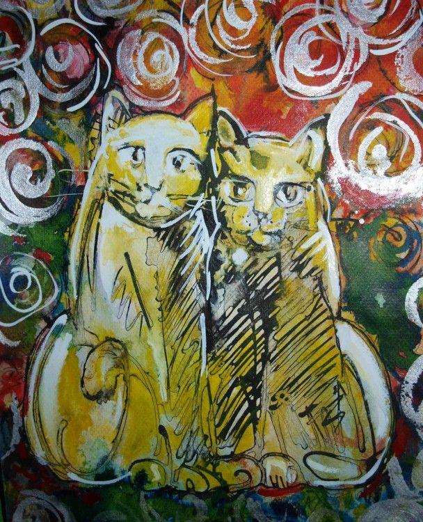 GOLD CATS (Painting) przez ANNA  BARDZKA