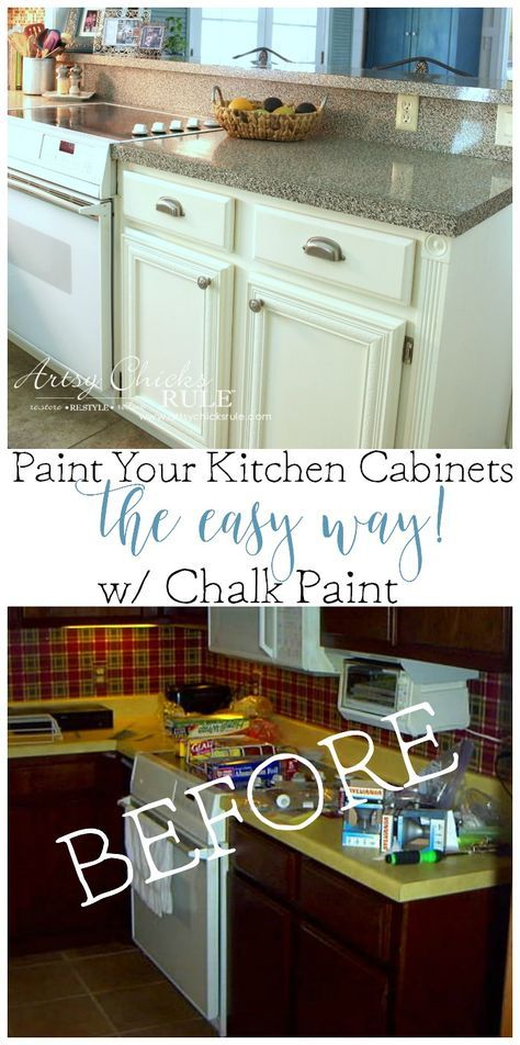 Painting my kitchen cabinets, easy and quick with Chalk Paint! Kitchen Cabinet Makeover with Chalk Paint, don't seal with wax, come see what I used instead!