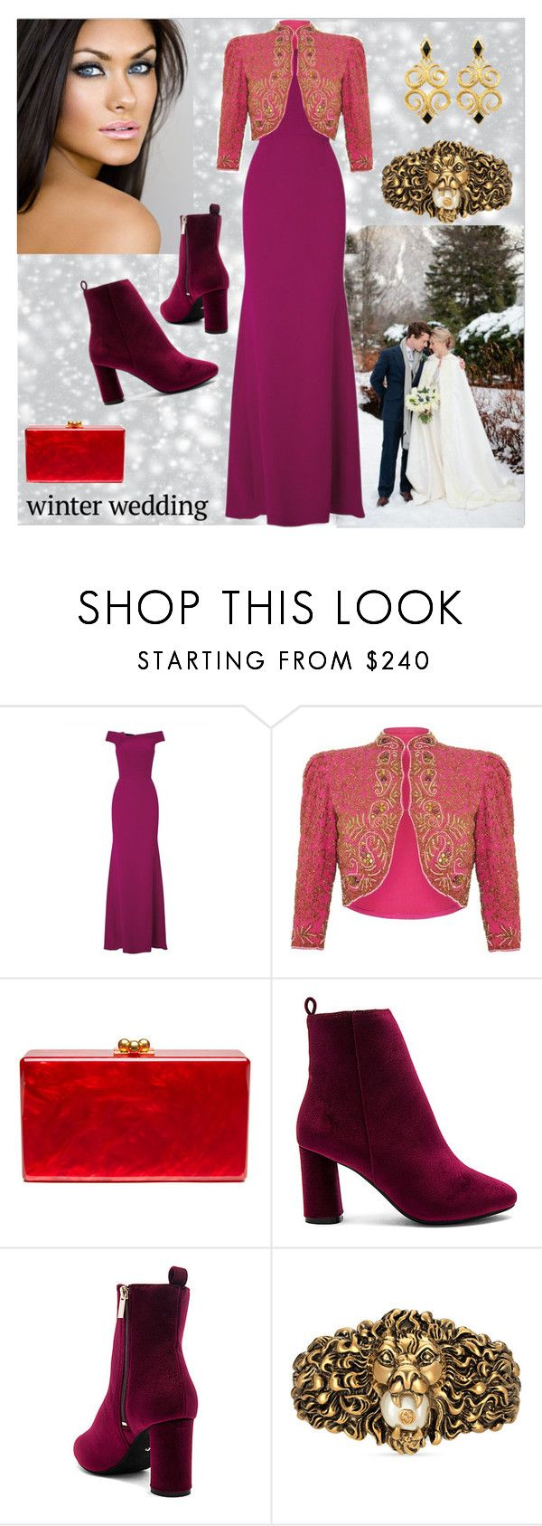 """""""Formal Winter Wedding Guest:  Roland Mouret Gown"""" by bklou ❤ liked on Polyvore featuring Roland Mouret, Edie Parker, Raye and Gucci"""