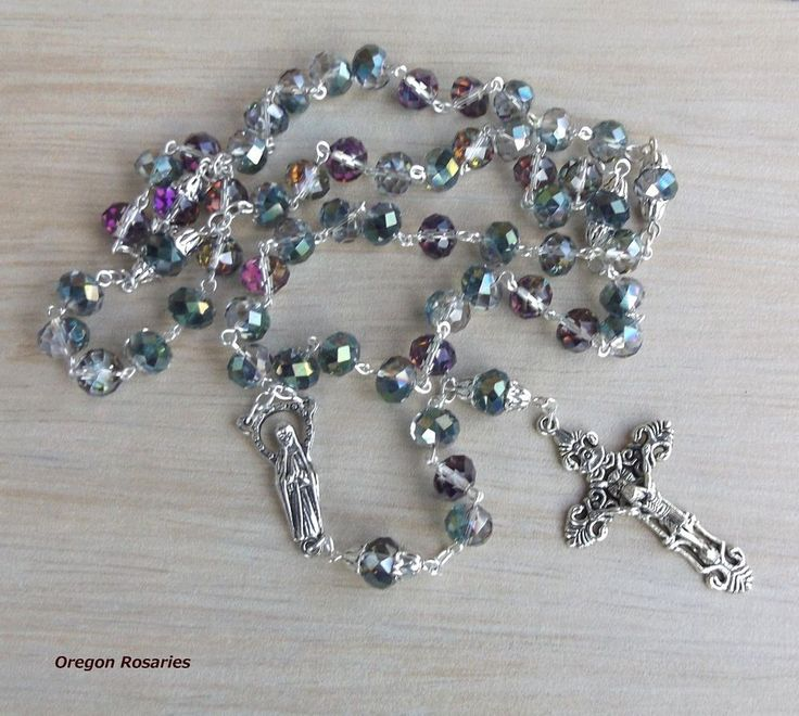 Larger Multicolored Faceted Glass Rosary, Tibet Silver #OR1085 | Collectibles, Religion & Spirituality, Christianity | eBay!