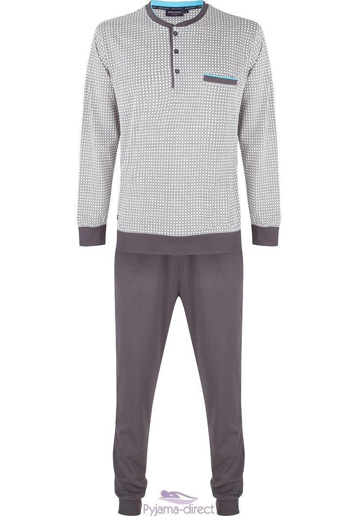 """You can be comfy & on trend in this Pastunette for Men, """"diamonds & crosses"""" midslategrey cotton pyjama with long pants with cuffs"""
