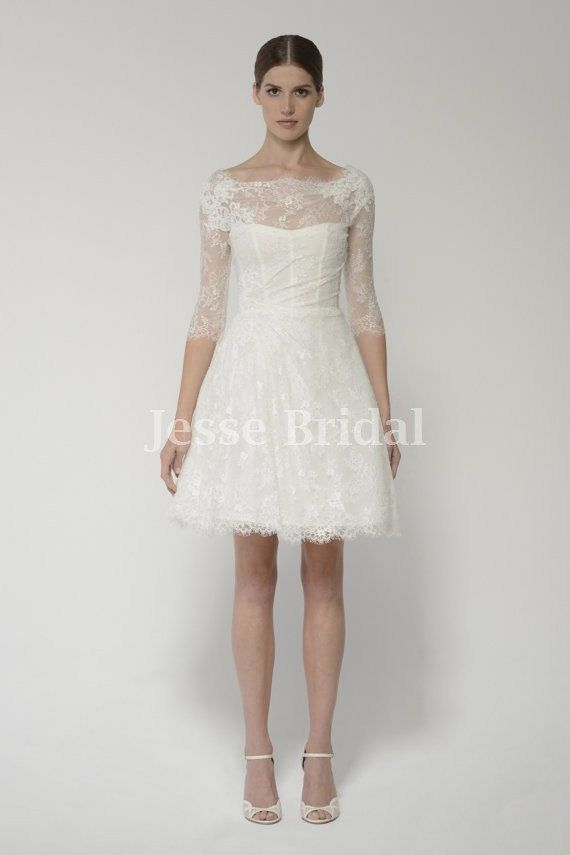 Long Sleeve Ivory Lace Short Chiffon Short Wedding Dressbridal Gown