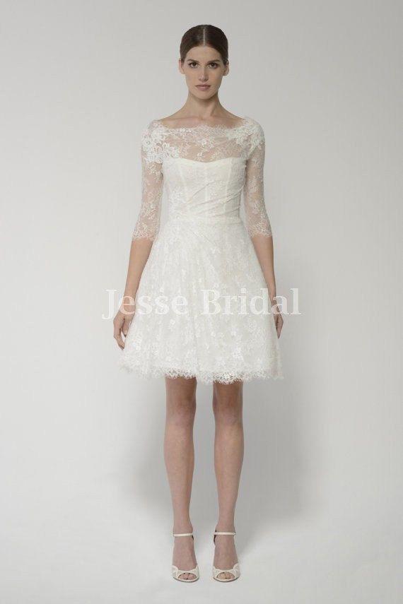 long sleeve ivory lace short chiffon short wedding dressbridal gown