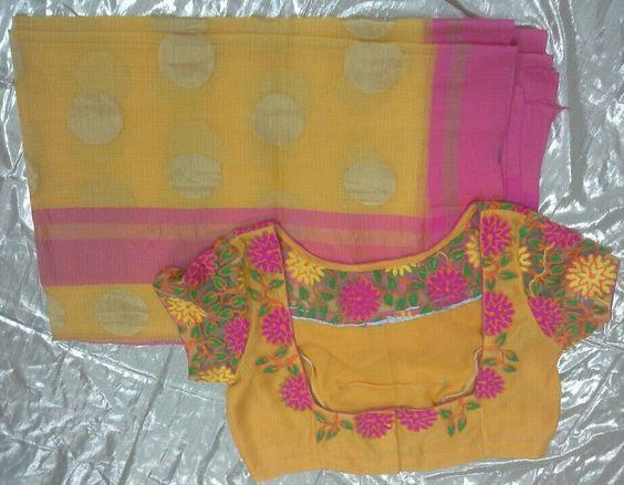 yellow kota sarees with boat neck blouse1