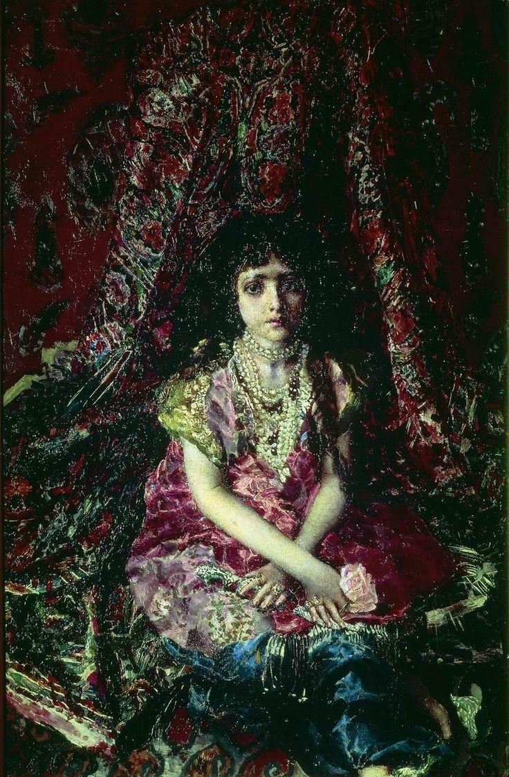 Врубель. Девочка на фоне персидского ковра