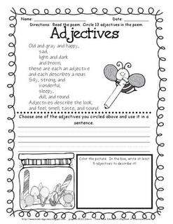 free adjectives poem