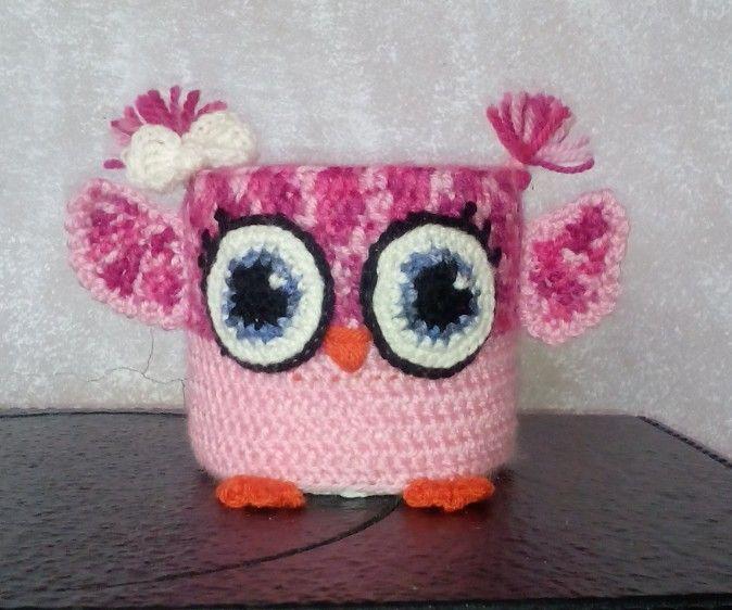 Knitting Pattern Tissue Holder : Crochet owl toilet paper holder Knitted and crochet home ...