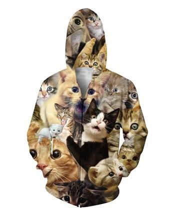 2302fedae0ea New style Fashion 3d Hoodie Animal Surprised Cats Collage Print Men s  Women s Casual Hooded Sweatshirt