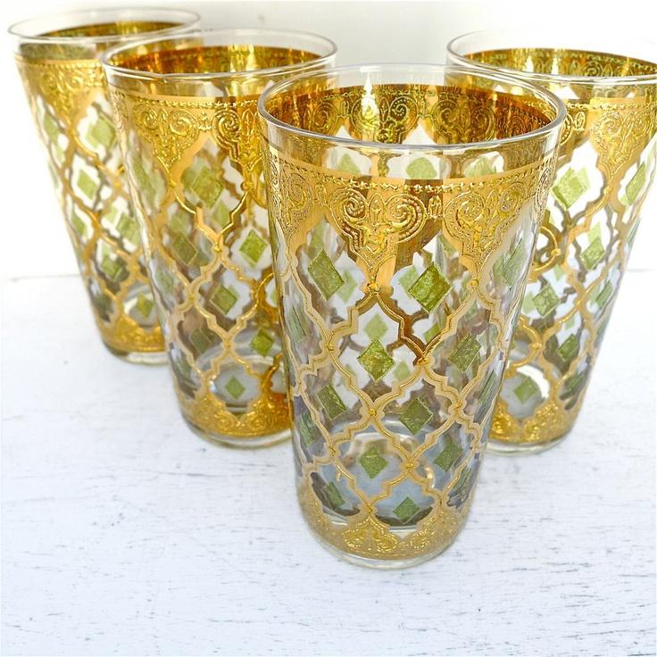 Vintage culver valencia glassware set of 8 1960 39 s 1960s - Vintage valencia ...