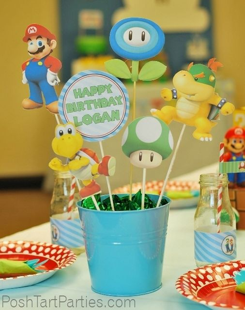Cute decorations at a Super Mario Brothers Birthday Party!  See more party ideas at CatchMyParty.com!