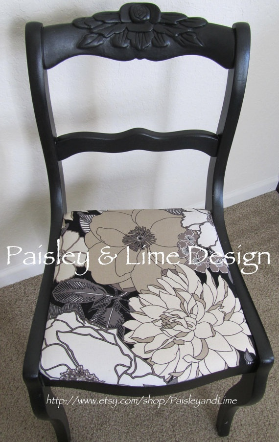 Duncan Phyfe Black & White 4 Rose Back Chairs by Paisley & Lime, $135.00 very nice but I want to go neutral.