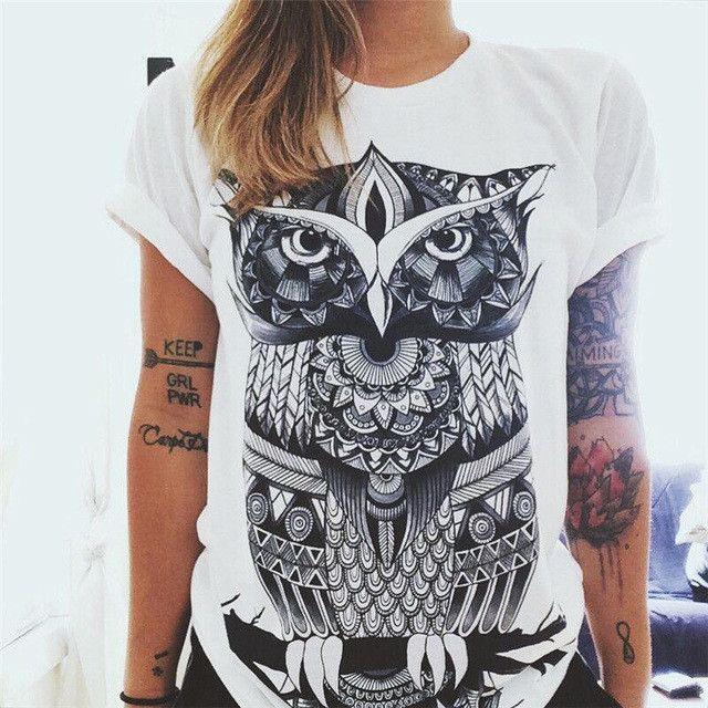 Sale 6 Colors Ladies Short Sleeve Sunflower Letters Owl Vintage Printed Blouse Cotton Tops Tee