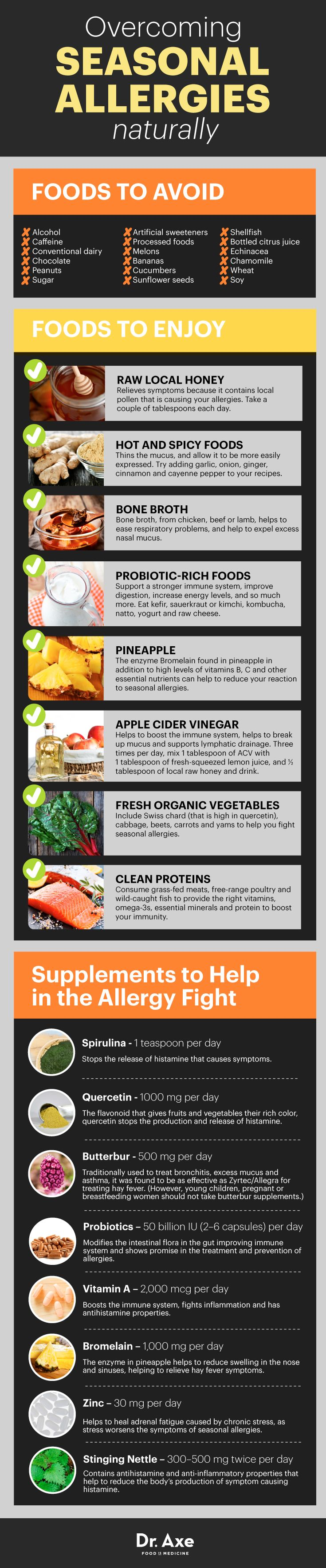 Natural remedies cures for seasonal allergies infographic chart http://www.draxe.com #health #holistic #natural
