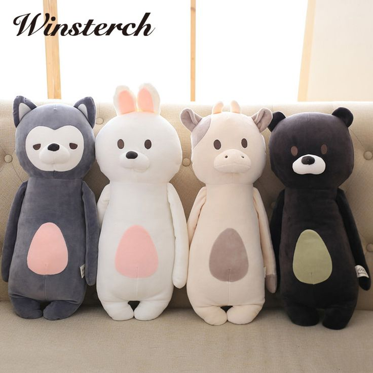 60cm Cute Plush Bunny Fox Bear Cow Toys Pillow Plush Toys Soft Stuffed Animal Rabbit Dolls Baby Kids Gifts Brinquedos WW337 #Affiliate