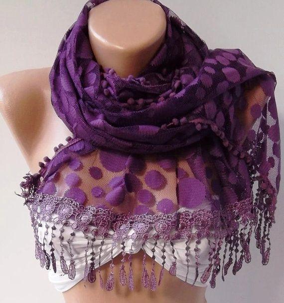 Purple   Elegance  Shawl / Scarf with Lacy Edge by womann on Etsy, $19.90