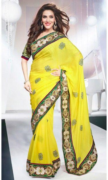 Unique Yellow Embroidered Saree
