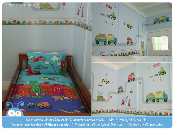 Construction Duvet Cover, Construction Wall Sticker Kit, Road Wall Sticker Kit and Transportation Stikarounds by Melanie Goodwin.  Vote for Melanie if you think this is the best kids room!