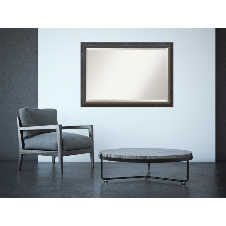 Paragon Dark Silver Wood 40 in. x 28 in. Traditional Framed Mirror