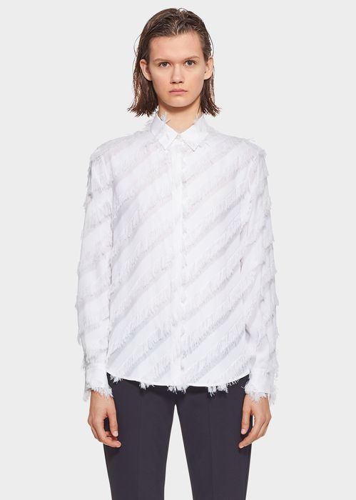 Versus Versace Flapper Button up Shirt for Women | UK Online Store. Flapper Button up Shirt from Versus Versace Women's Collection. Relaxed form fit, long cuffed sleeves, concealed button front, collared, fil coupe shirt with asymmetrical fringing.