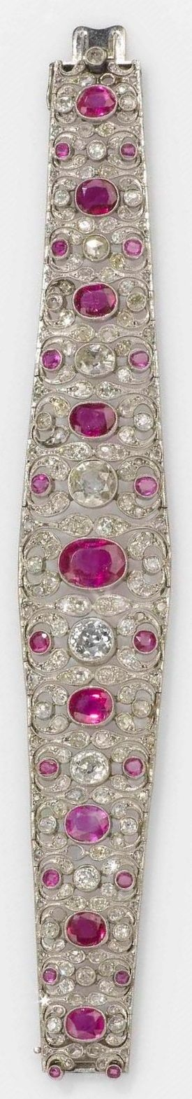 An antique platinum, diamond and Burmese ruby bracelet, USA, second half of the…