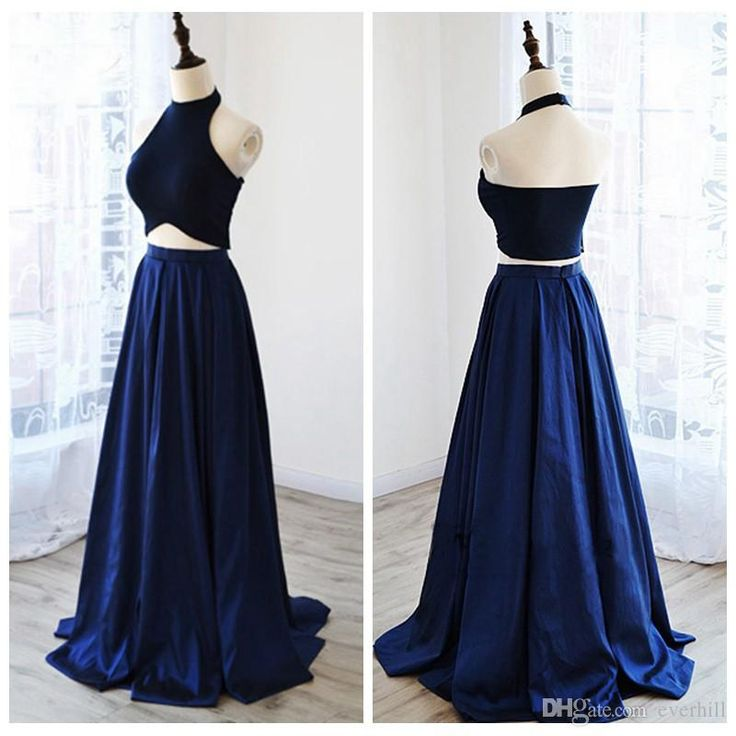 2018 Royal Blue Halter Two Piece Long Prom Dresses with Pockets Simple A-Line Satin 2 Pieces Vestiti Da Prom Graduation Gowns Evening Dress