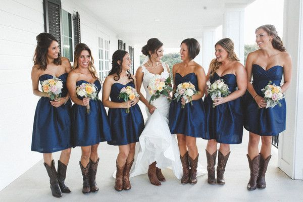 Navy blue bridesmaid dress idea - short navy blue bridesmaid dresses + rustic chic bouquets + cowboy boots {Jackie Willome Photography}