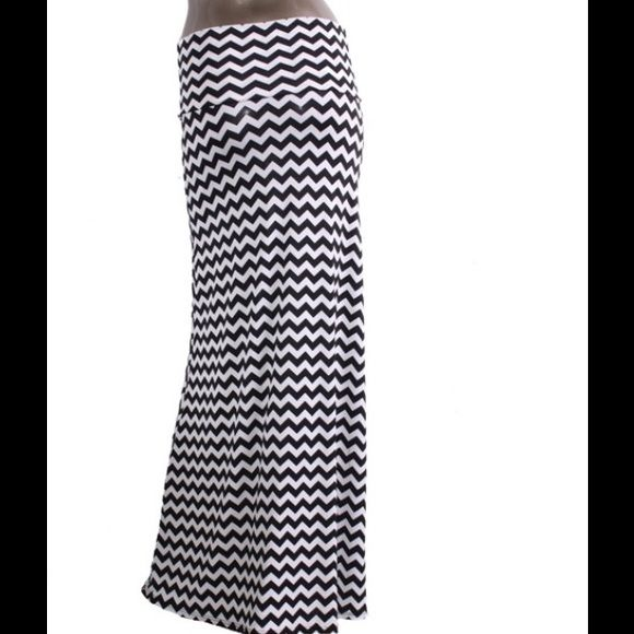 Closet Closing SaleToo cute Maxi Skirt  Black and white chevron pattern Maxi shirt   Fabric is 95% Polyester 5% Spandex  Sizes available in M&XL  Made in USA  Sorry ladies my current price listed is my lowest  I do offer 10% off bundles  PLEASE DO NOT PURCHASE THIS LISTING  If interested in buying please comment below and I will create a new listing for you Skirts Maxi