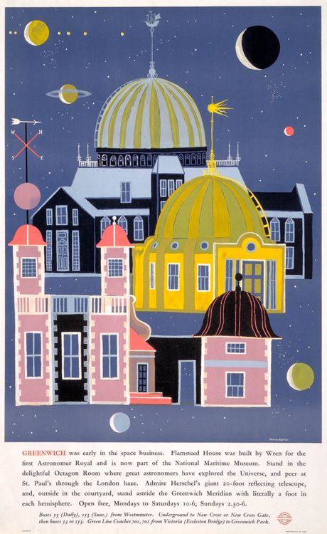 Greenwich: London Transport poster, 1962, Warren Kenton. Common-or-garden via lookatthesegems.