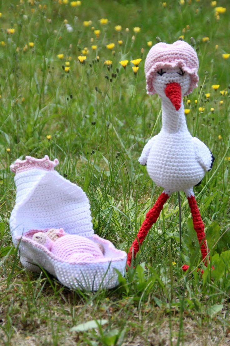 Hæklet Stork med baby