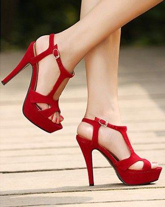 Suede Design High Heel Sandals