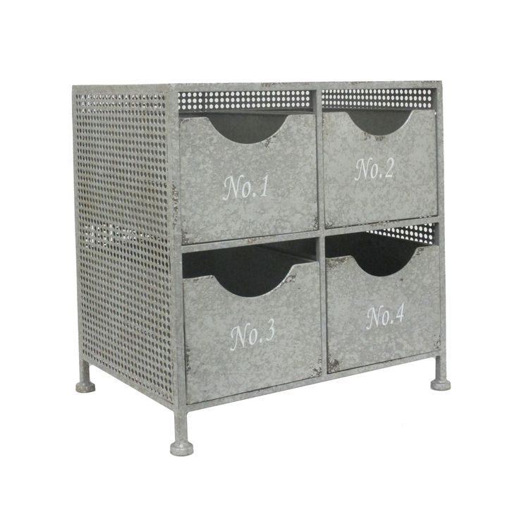 4-Drawer Raw Metal Cabinet | dotandbo.com