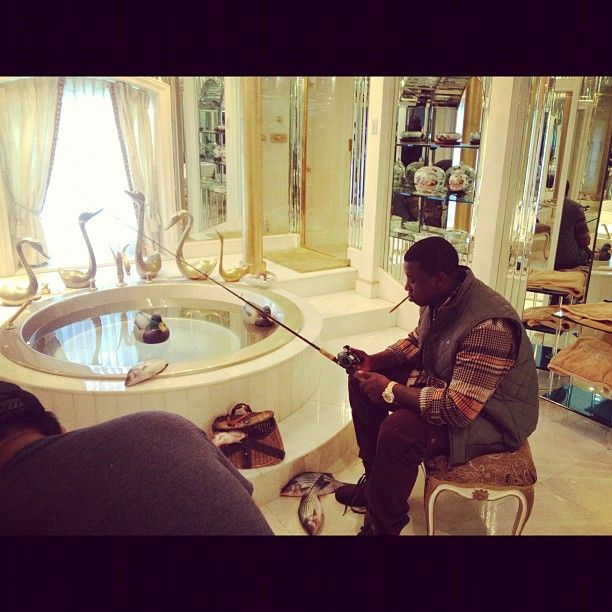 Rapperz On Instagram Too funny. Gucci Mane fishing in his bath