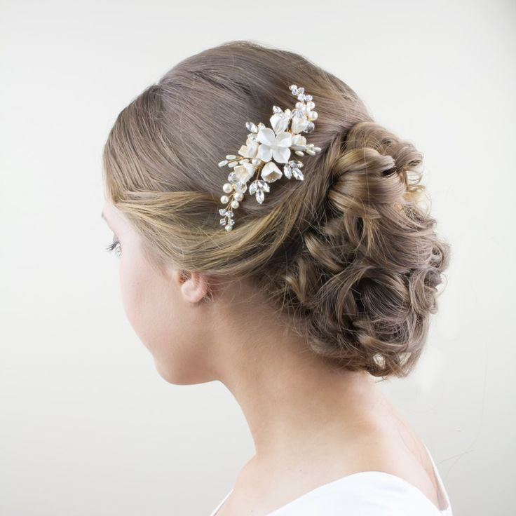 Harriet Bridal Comb with Handmade flowers - http://www.shellarndesign.com.au/product/harriet-bridal-comb/