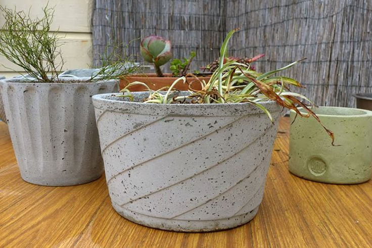 Various circular planters made with shapecrete the for Craft cement mix