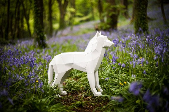 3D Paper Wolf / Dog Instant Papercraft Template by Paperpetshop