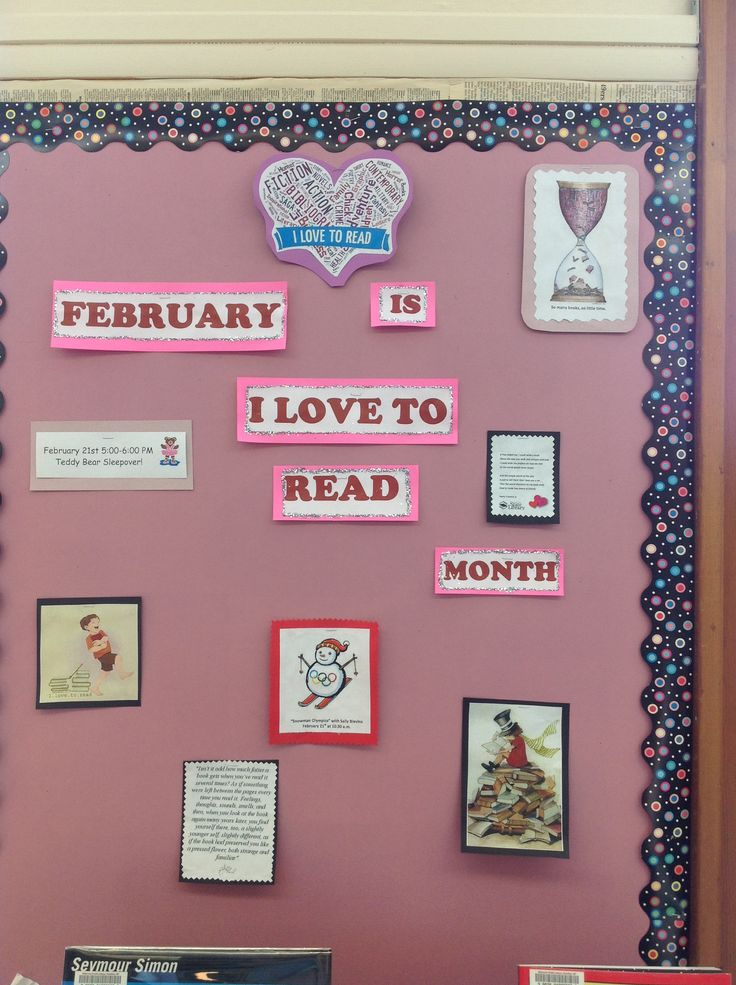 love to read month- bulletin board | Library Bulletins | Pinterest