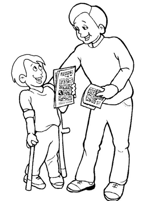 The Boy Disabilities Coloring Page