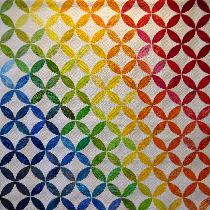 """Color Confluence"" Orange Peel quilt. Designed by Ellen Granda and Carol Swartz, quilted by Donna Derstadt. Village Quilters 2015 opportunity quilt (Illinois)."