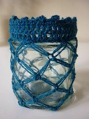 Solomons knot tea light holder  This is how to crochet a cover to fit a little jar measuring 9cm high x 7cm diameter    You can easily alter this pattern to fit any size jar. ~Tutorial ~ Teresa Restegui ~