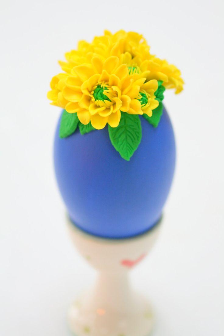 Easter Tree Ornament, Easter Egg, Egg Decorations, Easter Decorations, Spring Decorations, Ostereier, Yellow Chrysanthemums, Goose Egg by EggOnTop on Etsy
