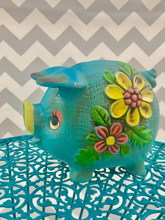 Vintage Mod Piggy Bank Blue Floral Piggy by Mapleclovervintage