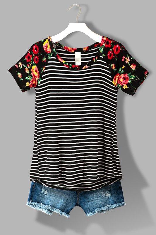 Black Floral Raglan Sleeve Striped Shirt