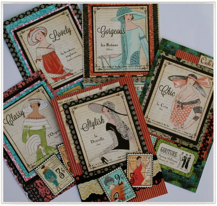 Made some classy and stylish cards from Graphic 45 Couture range.