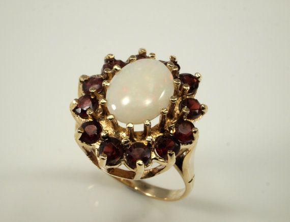 Vintage Opal Garnet Ring 1977  Opal Statement by BelmontandBellamy