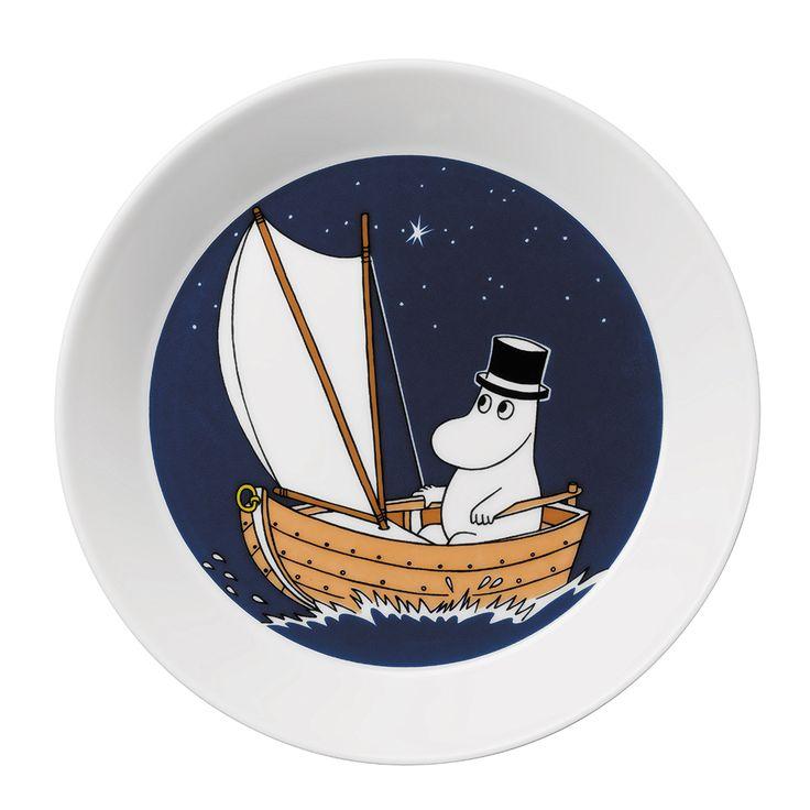 Moomin Plate Moominpappa, Dark Blue - Tove Slotte-Elevant - Arabia - RoyalDesign.com