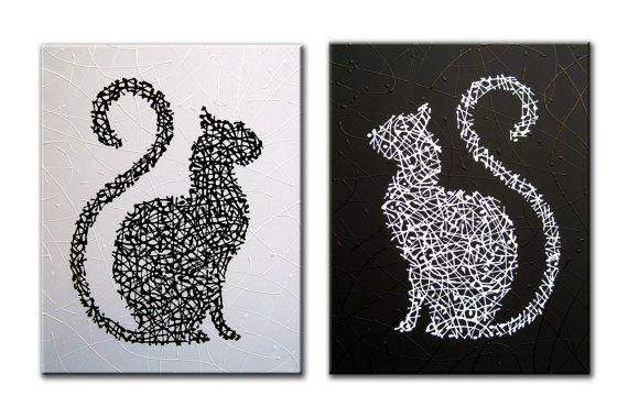Matrix Cats  Black and White  Original painting by MatriXArtbyDV, $99.00